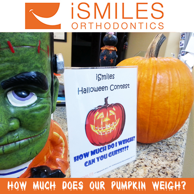 Irvine Orthodontics Braces Halloween Contest Guess Pumpkin Weight Fun Office