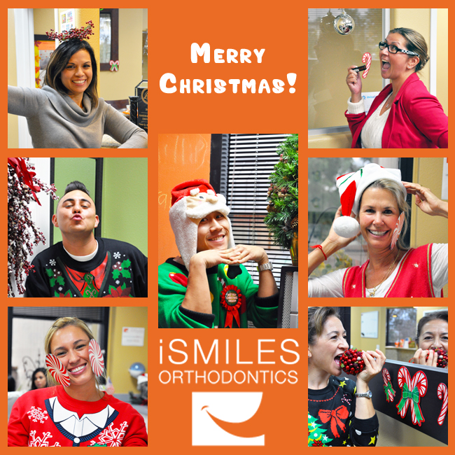 Irvine Braces Orthodontics Merry Christmas Happy Holidays iSmiles Team
