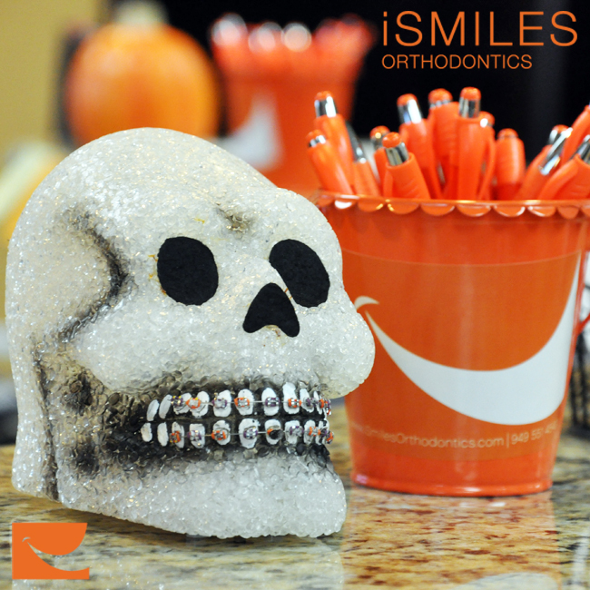 Irvine Braces Orthodontics Halloween Decorations Skull Smiling Costumes iSmiles